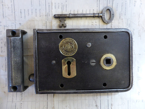 "6 1/4"" x 4"" Victorian Cast Iron & Brass Door Rim Lock, Key Keep - Gibbons Wolverhampton Lozenge Date Mark 1882"