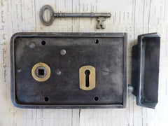 "6 1/4"" x 4"" Victorian Cast Iron & Brass Door Rim Lock, Key Keep - Gibbons Wolverhampton Kite Marked 1882"