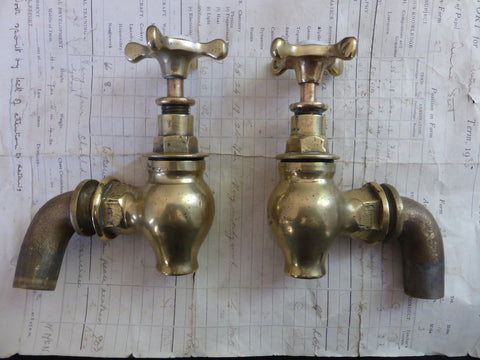 Antique Solid Brass Globe Sink/Bath/Butler Taps - L.C.W.W Owl Logo