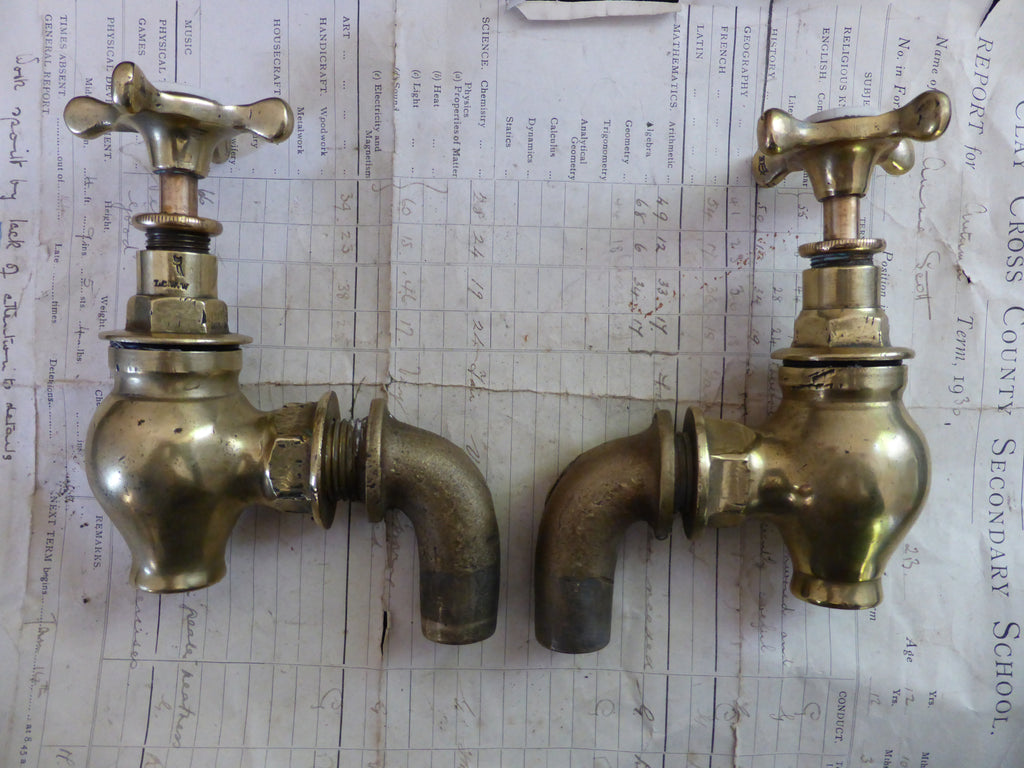 Antique Solid Brass Globe Sink/Bath/Butler Taps - L.C.W.W Owl Logo ...