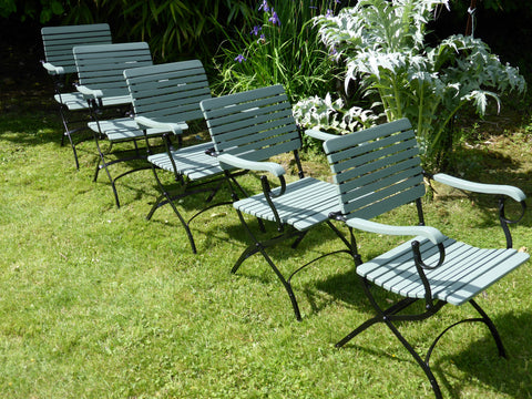 5 x Vintage French Bistro Folding Armchairs - Teak Wood & Wrought Iron