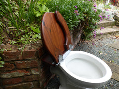 Unusual Antique Wooden Horseshoe High Level Toilet Seat + Lid