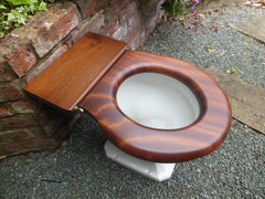 Antique Mahogany High Level Toilet Seat - Stunning Striped Grain