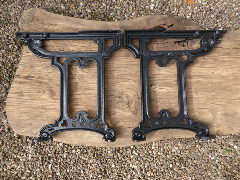 "Victorian Cast Iron 16"" Throne High Level Toilet Seat Floor Brackets - 1897"