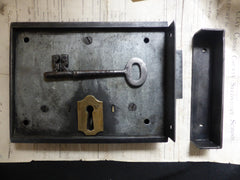 "8"" x 6"" Victorian Cast Iron Door Rim Lock, Key & Keep - Deadlock"