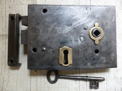 "6""x 4 1/4"" Iron & Brass Door Rim Lock, Key & Keep"