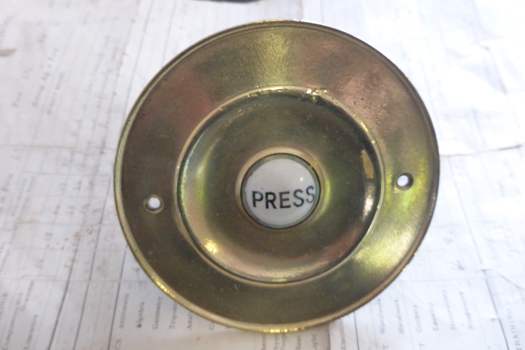 Large Antique Brass & China Electric Door Bell Push - 4 ... - Large Antique Brass & China Electric Door Bell Push - 4 1/2