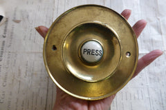 Large Antique Brass & China Electric Door Bell Push - 4 1/2""