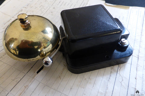 Small Vintage Bakelite & Brass Electric Doorbell - 6-12 volts