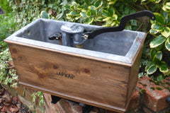 Ornate Antique Restored Japkap Wooden High Level Toilet Cistern - Medium Oak
