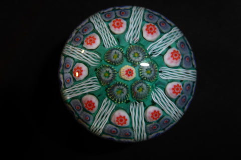 Large Vintage Strathearn Millefiori Glass Paperweight Door Handle - Emerald Green