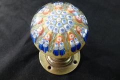 Vintage Millefiori Glass Paperweight Door Handle - Mustard & Blue