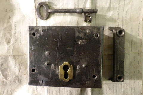"5"" x 4 1/4"" Iron & Brass Door Rim Lock, Key & Keep - Dead Lock"