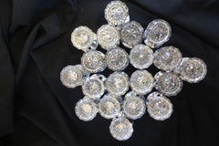 10 Pairs Art Deco 12 Sided Glass & Brass Door Knobs & Back Plates