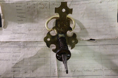 Antique Gothic Cross Brass Mechanical Door Bell Pull