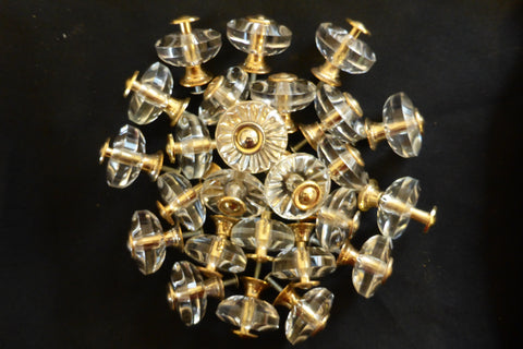 Six Vintage Flower Glass & Gold Drawer Knobs 1970s - 4 Sets Available