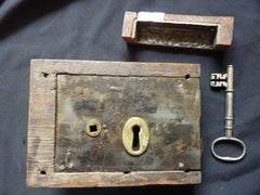Gothic Reclaimed Wooden & Cast iron Church / Castle Rim Lock with Key and Keep