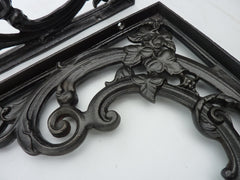 "Large 16"" Ornate Cast Iron High Level Toilet Seat Brackets"