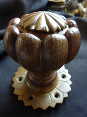 Gothic 1800s Wood & Bronze Entrance Door Centre Pull Knob