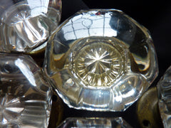 8 pairs Large Antique Glass Door Knobs + Back Plates 1800s