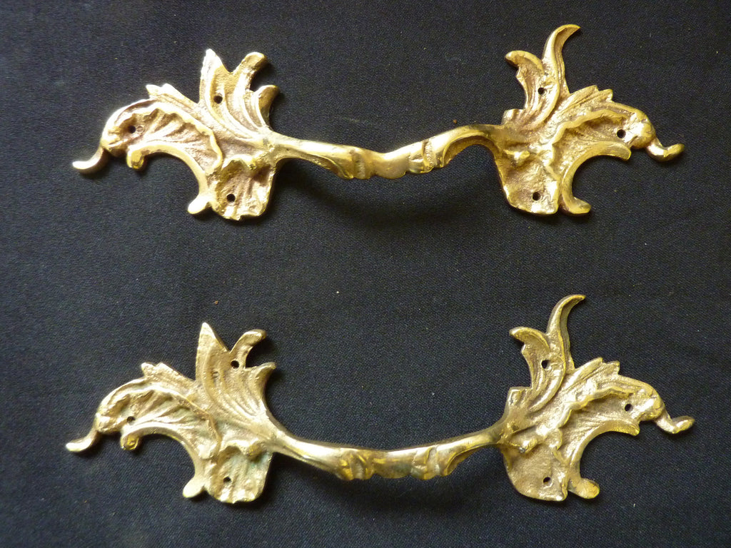Rococo, Louis XIV Style Fancy Brass Leaf Drawer Pulls