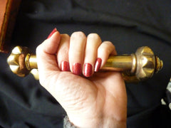 Fancy Brass Single Pull Door Handle / Towel Holder antique