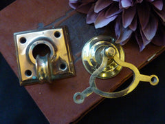 Huge Antique Brass Mechanical Front Door Bell, Pull & Cranks