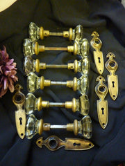 6 Pairs Glass & Brass Rim Lock Door Knobs & Backplates