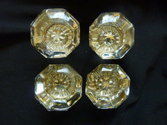 2 Pair Antique Glass Door Knobs & Backplates Circa 1900