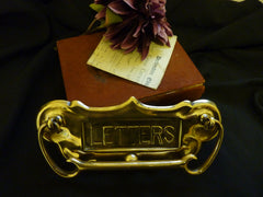 Large Art Nouveau Reclaimed Brass Door Letter Box & Knocker