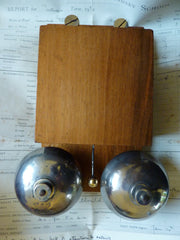 Vintage French Wood & Steel Double Telephone Extension Bell