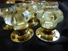 5 pairs of antique glass door knobs