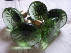 Six Vintage Lindshammar Green Glass Drawer Knobs 1970s