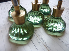 6 Vintage Lindshammar Green Glass Drawer Knobs 1970s