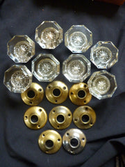 4 pairs Edwardian Antique Glass Door Knobs + Back Plates 1900s