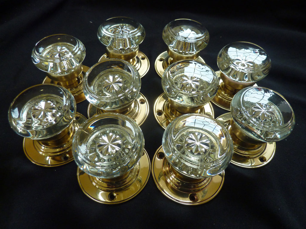 5 Pairs Original Antique Edwardian Round Glass Door Knobs
