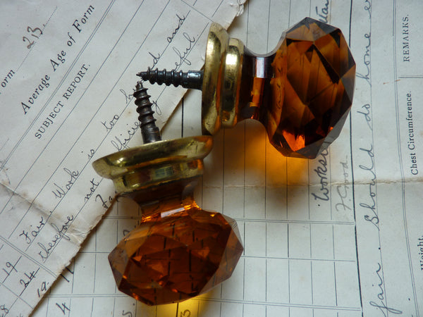 Pair Of Vintage Amber Cut Glass Amp Brass Drawer Knobs