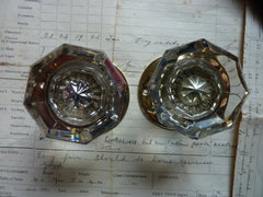 Pairs Antique Octagonal Glass Door Knobs Circa 1901