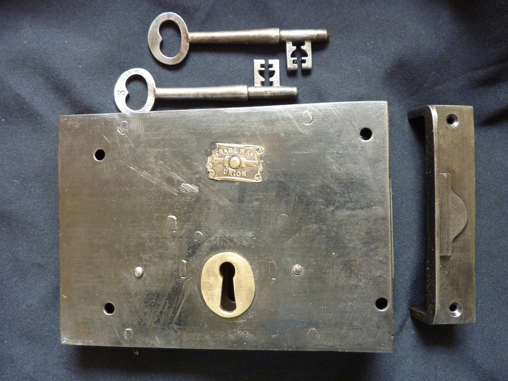 "7"" x 5"" Victorian Cast Iron Door Rim Dead Lock, Key & Keep"