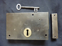 "7"" x 4 1/2"" Victorian Cast Iron Door Rim Dead Lock, Key & Keep"