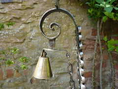 Vintage Wrought Iron Gate Bell Chime - Rooster Spanish Revival Brass Door Bell