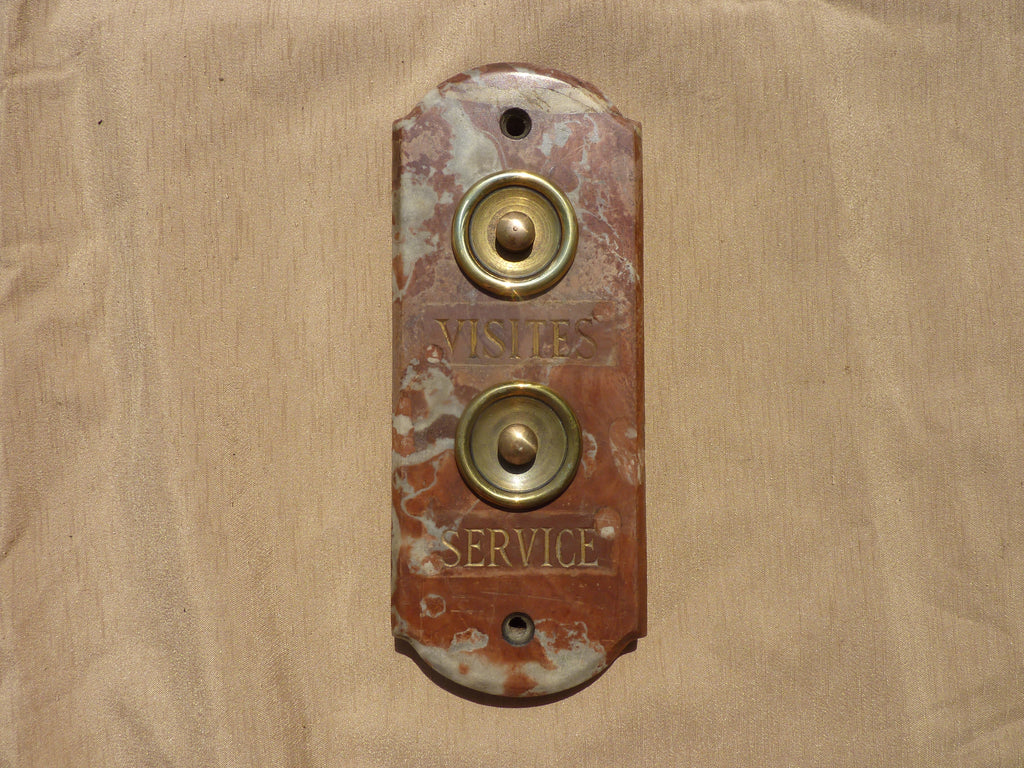 Art Deco French Marble & Brass Door Bell Push Buttons