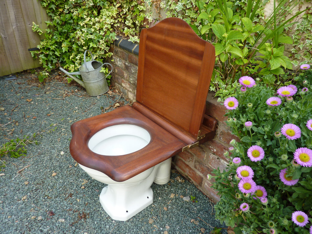 Antique Mahogany High Level Throne Toilet Seat With Lid