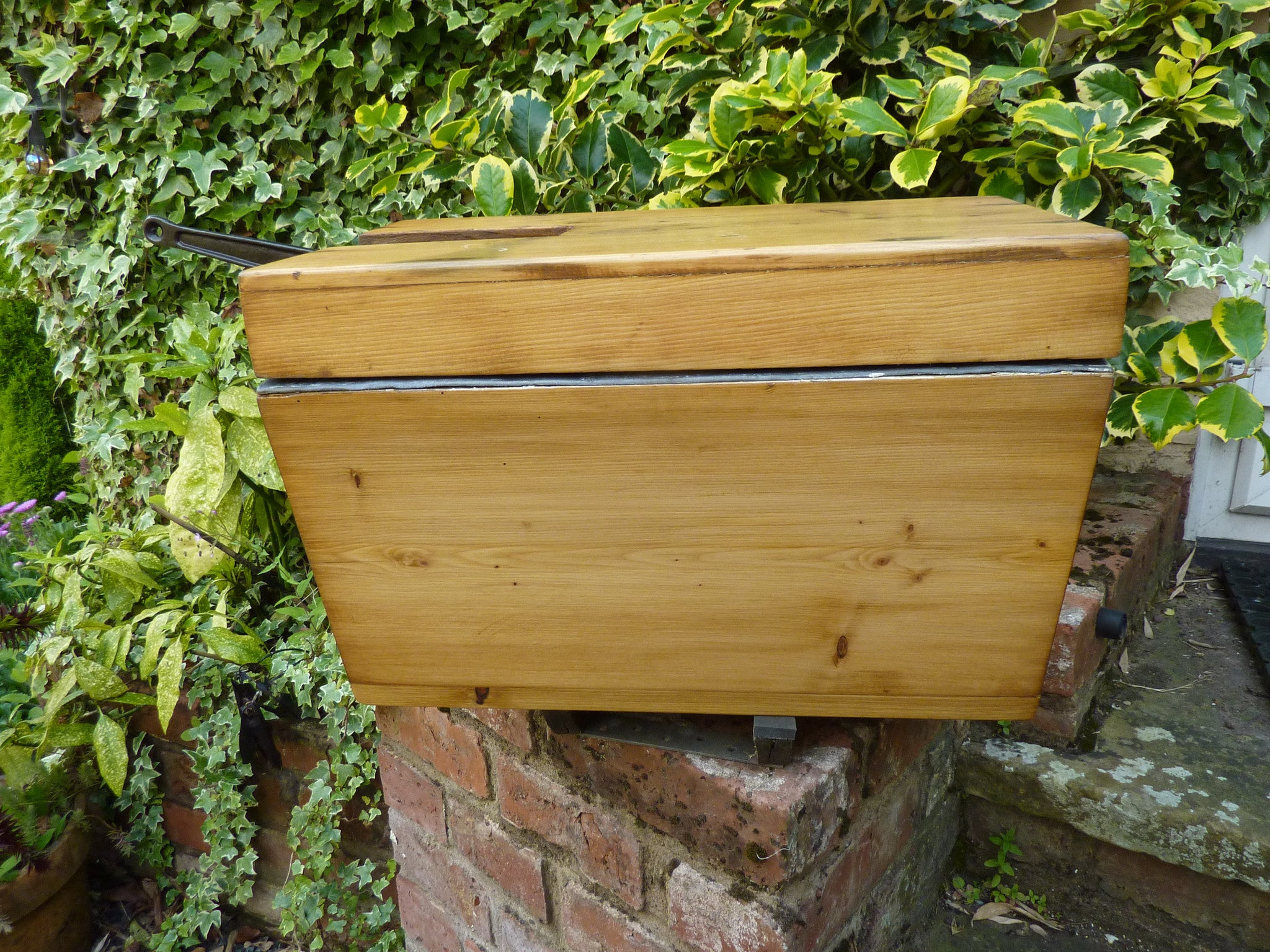 """""""Neptune Patent"""" - Restored Antique Wooden High Level Toilet Cistern with Lid"""