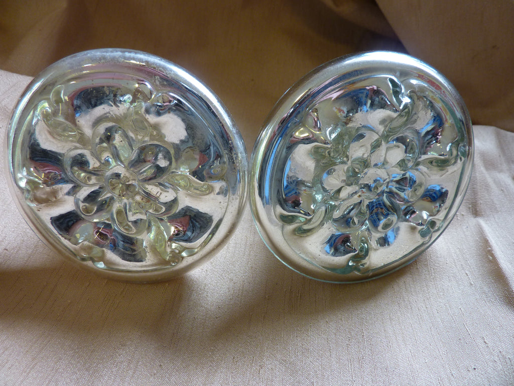 Large Antique Mercury Hand Blown Relief Glass Curtain Tie Backs