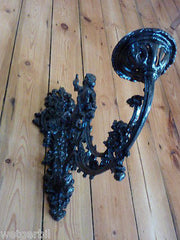 Restored Gothic Cast Iron Wall Candle Holder - Greenman Warrior & Horse sconce