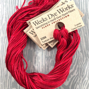 Turkish Red Weeks Dye Works 6 Strand Hand-Dyed Embroidery Floss