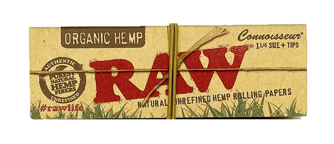 RAW 1/4 Rolling Papers With Tips Organic Hemp