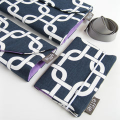 travel gift set - Travel Set of Makeup & Jewelry Cases + Passport Cover - Navy - effie handmade