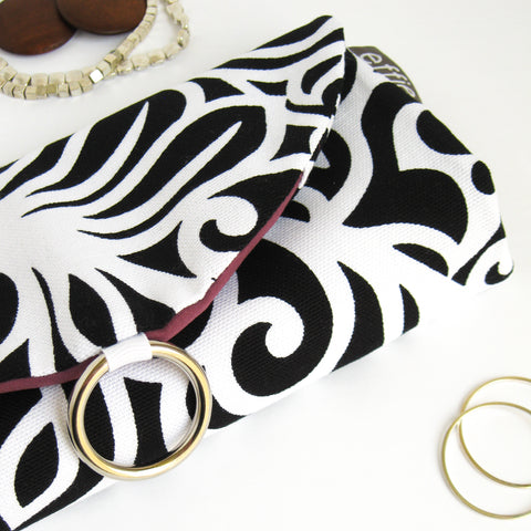 Travel Jewelry Case - Black and White Scroll with Plum Purple